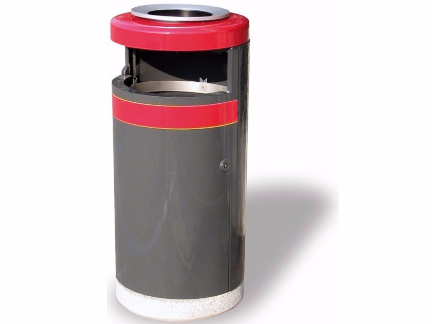 Outdoor waste bin with ashtray ECO 130 WITH BIG ASH - TRAY - A.U.ESSE