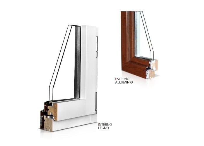 Finestra a battente con doppio vetro in alluminio e legno eco 650 quadra 90 cos met - Finestra mobile cos e ...