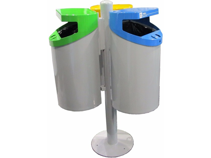 Steel waste bin for waste sorting ECO ISOLA WITH 3 BINS 50 LT. - A.U.ESSE