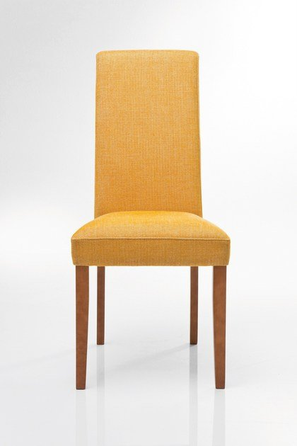 Upholstered high-back fabric chair ECONO SLIM RHYTHM MUSTARD - KARE-DESIGN