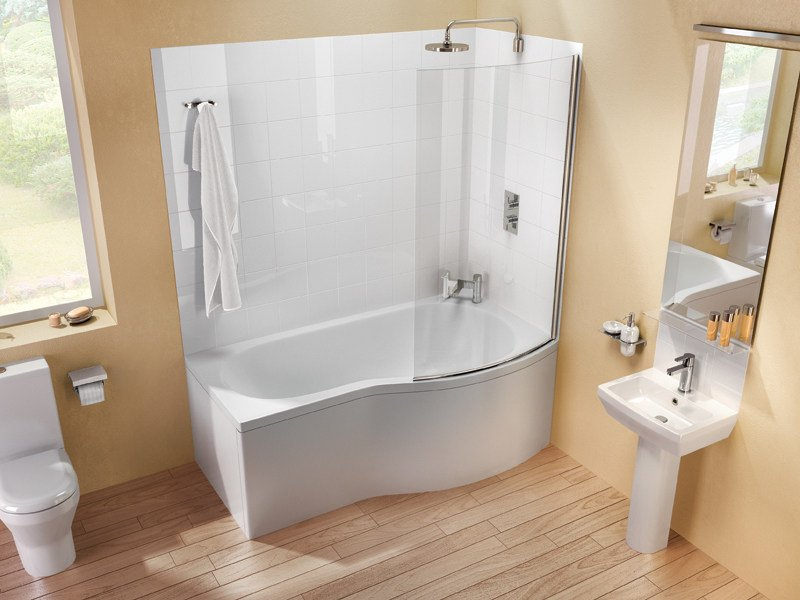 Asymmetric bathtub with shower ECOROUND by Polo