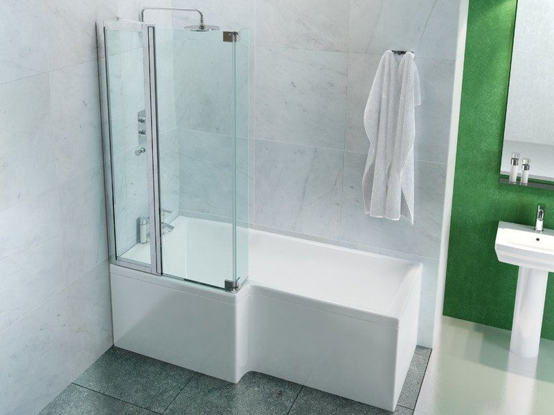 Asymmetric bathtub with shower ECOSQUARE - Polo