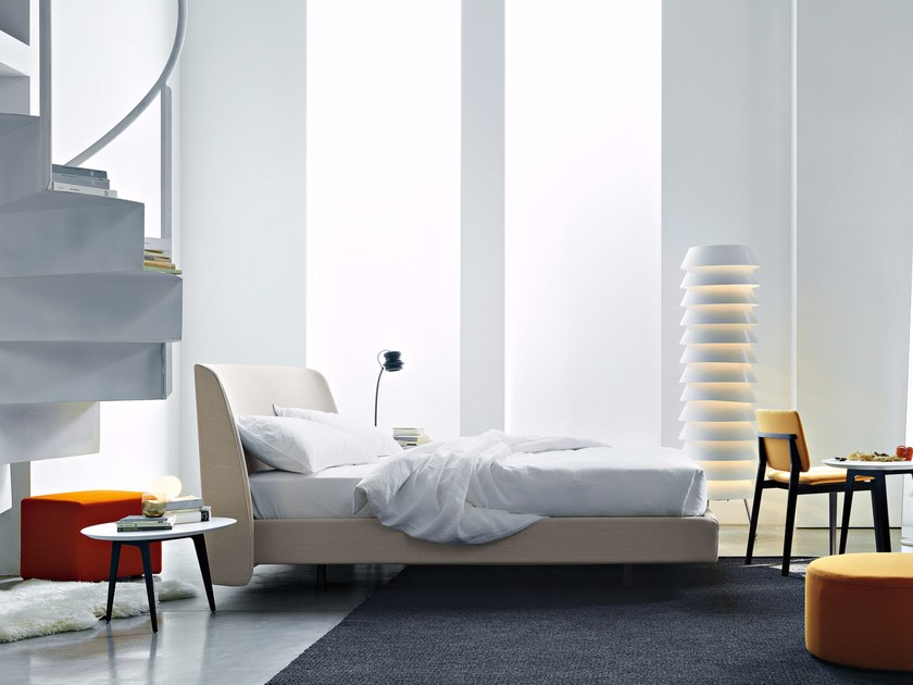 Fabric double bed with upholstered headboard EDEL - Lema