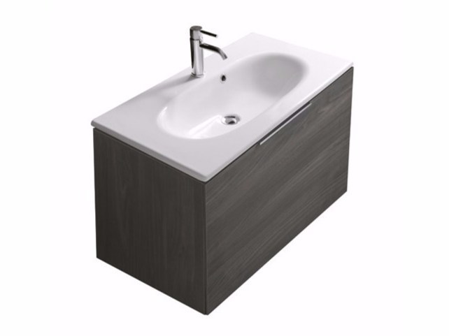 Wall-mounted vanity unit with drawers ERGO - 7161 - GALASSIA