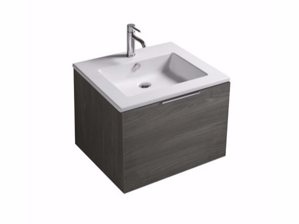Contemporary style single wall-mounted vanity unit with drawers EDEN - 7240 by GALASSIA
