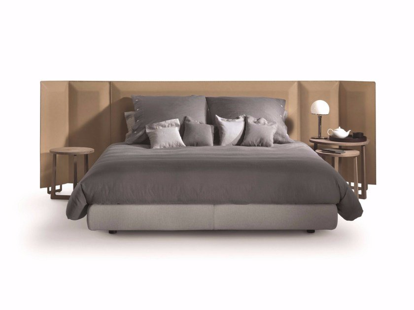 Double bed with upholstered leather headboard EDEN PLUS - FLEXFORM