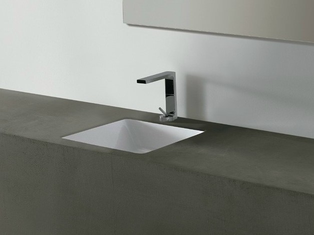 Undermount square ceramic washbasin EDGE 44X44 | Undermount washbasin - Alice Ceramica