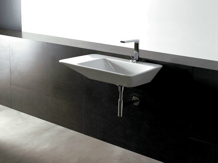 Rectangular ceramic washbasin EDGE 80X50 | Washbasin - Alice Ceramica