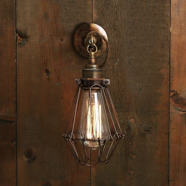Direct light handmade wall lamp EDOM INDUSTRIAL CAGE WALL LIGHT - Mullan Lighting