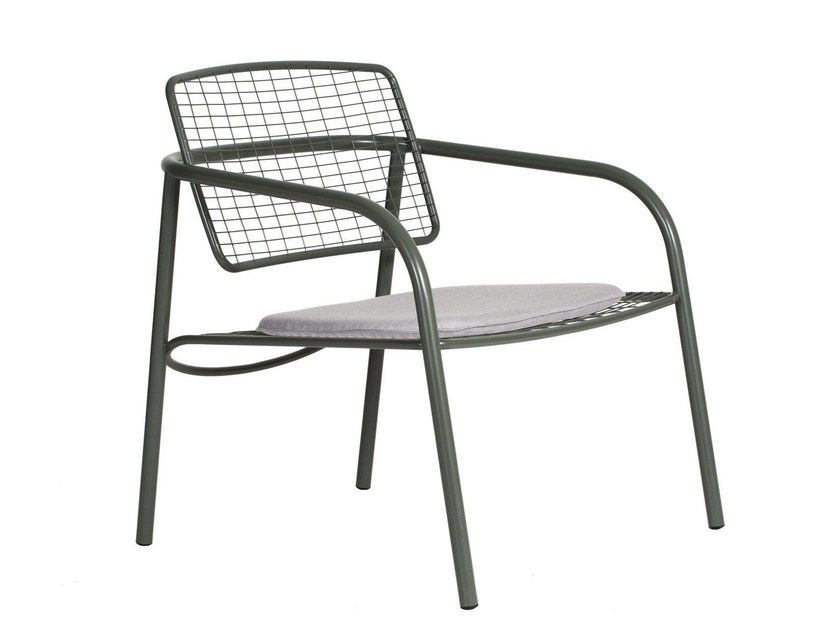 Contemporary style stainless steel garden armchair with armrests EIJA METAL by ASPLUND