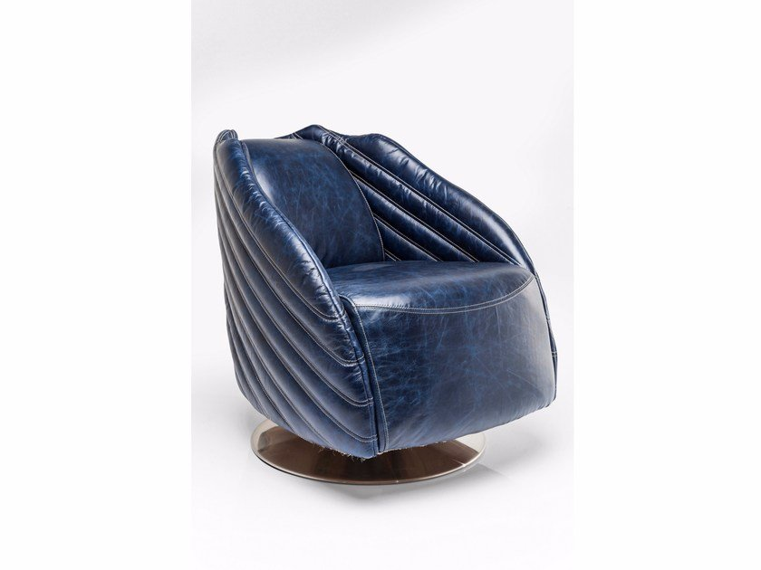 Swivel leather armchair EL CAPITAN BLUE - KARE-DESIGN