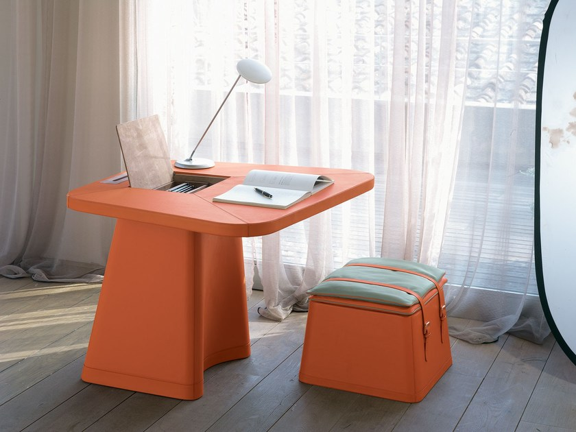 Tanned leather secretary desk ELECTA | Secretary desk - ITALY DREAM DESIGN - Kallisté