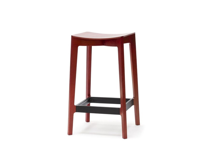 Wooden stool with footrest ELEMENTARY | Stool - Feelgood Designs