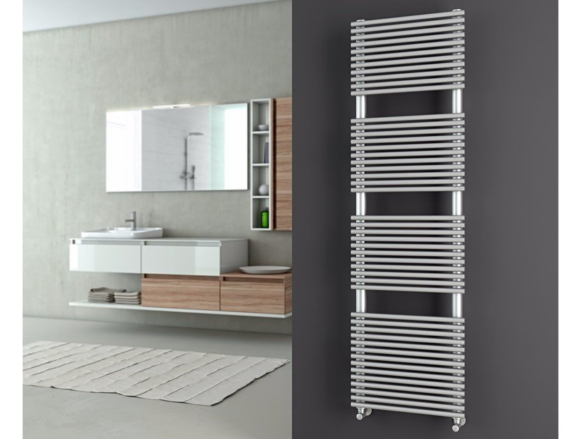 Hot-water brushed steel decorative radiator ELEN | Brushed steel towel warmer by CORDIVARI