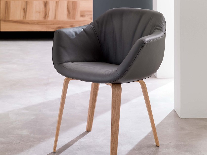Upholstered leather easy chair with armrests ELIOT - Ozzio Italia