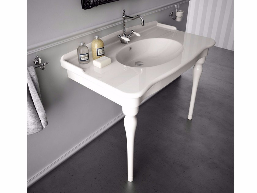 Console ceramic washbasin ELLADE | Washbasin with integrated countertop - Hidra Ceramica