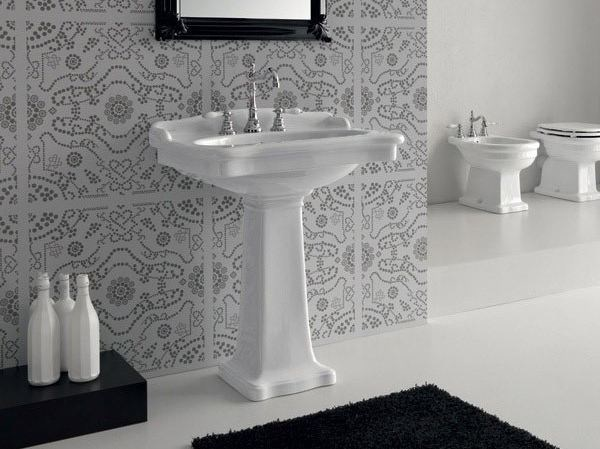 Rectangular ceramic washbasin ELLADE | Pedestal washbasin by Hidra Ceramica