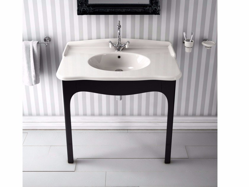 Console ceramic washbasin ELLADE | Rectangular washbasin - Hidra Ceramica