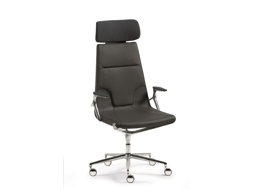 Executive chair with 5-spoke base with armrests with headrest ELLE 01 | Executive chair with headrest by Emmegi