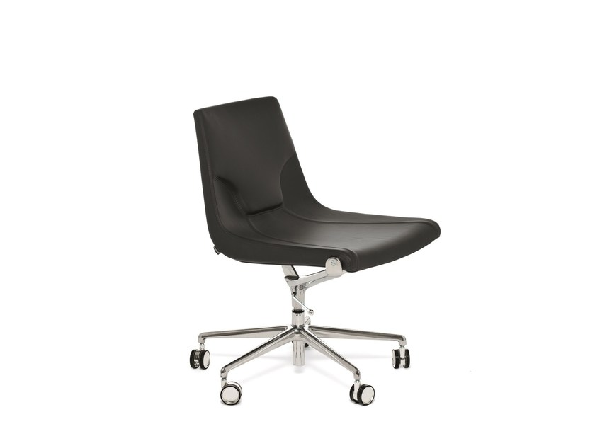 Leather task chair with 5-Spoke base with casters ELLE 01 | Task chair - Emmegi