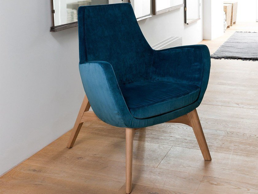Upholstered fabric armchair with armrests ELLY by Dall'Agnese