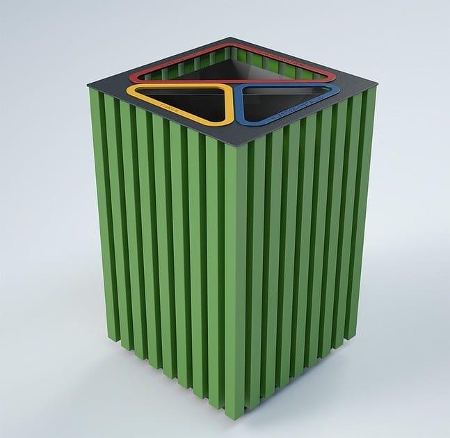 Outdoor waste battery bin ELODIE TRIPARTITO | Waste bin for waste sorting - CITYSì