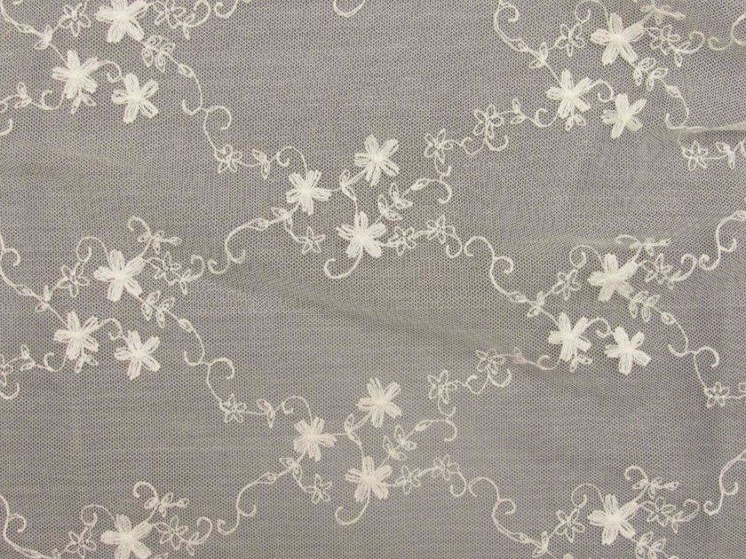 Embroidered polyester fabric with floral pattern for curtains EMBROIDERY DIAMOND by Gancedo