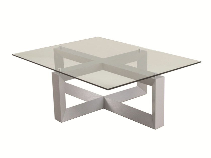 Low rectangular glass garden side table EMILY | Aluminium coffee table - Efasma