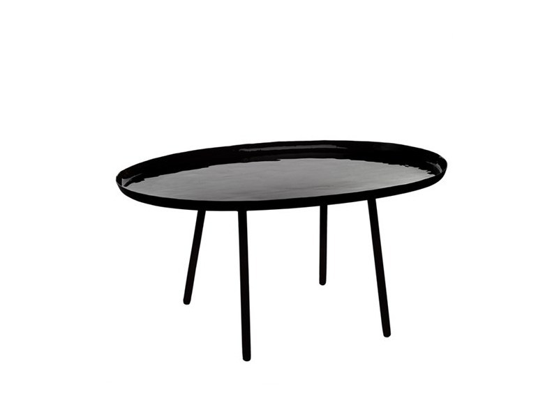 Lacquered oval coffee table ENAMEL BLACK | Oval coffee table - Pols Potten