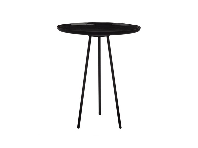 Lacquered round metal side table ENAMEL BLACK | Side table - Pols Potten