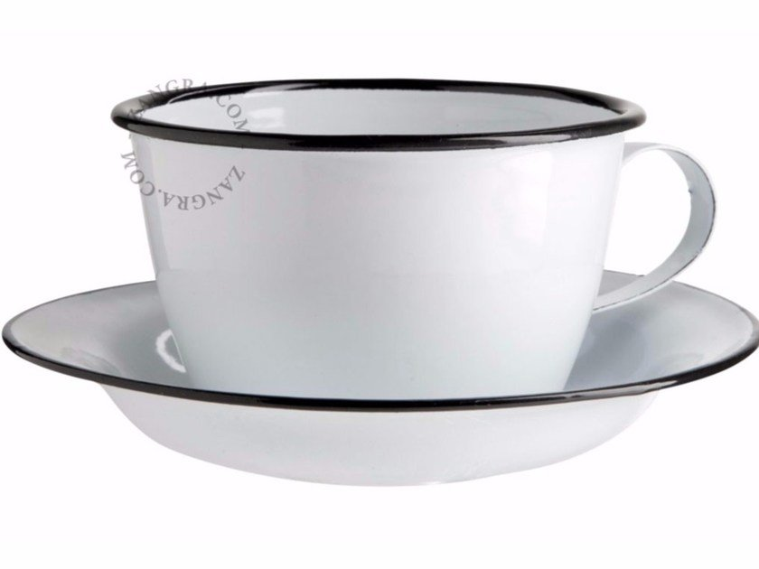 Enamelled metal cup with saucer ENAMEL CUP by ZANGRA