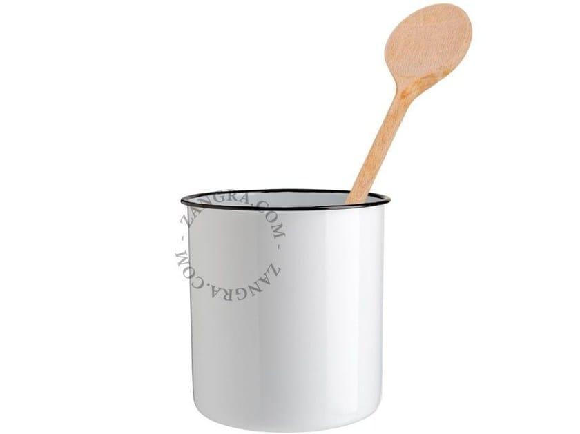 Enamelled metal utensil holder ENAMEL JAR | Utensil holder by ZANGRA