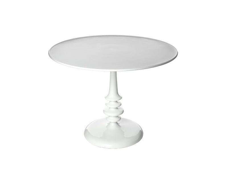 Tavolo laccato rotondo in alluminio ENAMEL WHITE 100DIA - Pols Potten