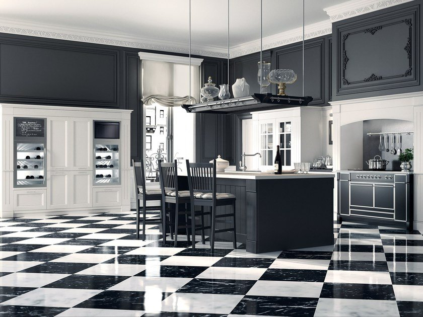 Solid wood fitted kitchen with island ENGLISH MOOD - FUMO DI LONDRA by Minacciolo