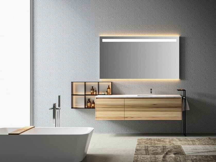 Single wall-mounted vanity unit with drawers EOS | Vanity unit - Edoné by Agorà Group