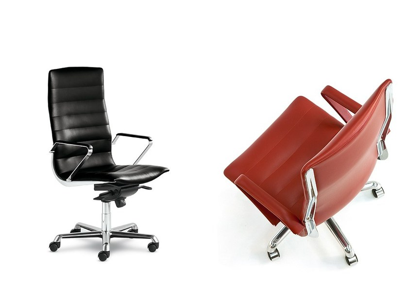Leather executive chair with armrests with casters EPICO 501/506 by Polflex