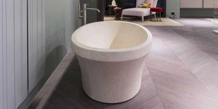 Vasca da bagno centro stanza ovale in pietra naturale - Vasche da bagno in pietra ...