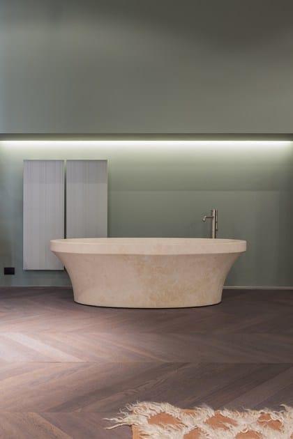 Vasca da bagno centro stanza ovale in pietra naturale epoque antonio lupi design - Bagno in pietra naturale ...