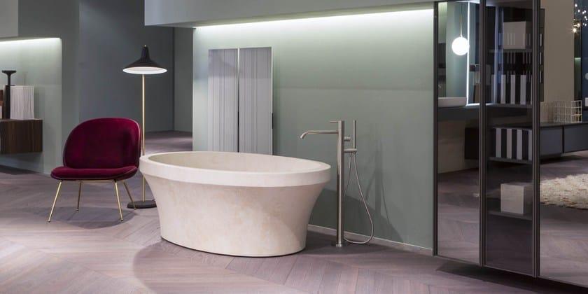 Vasca da bagno centro stanza ovale in pietra naturale epoque antonio lupi design - Vasche da bagno centro stanza ...