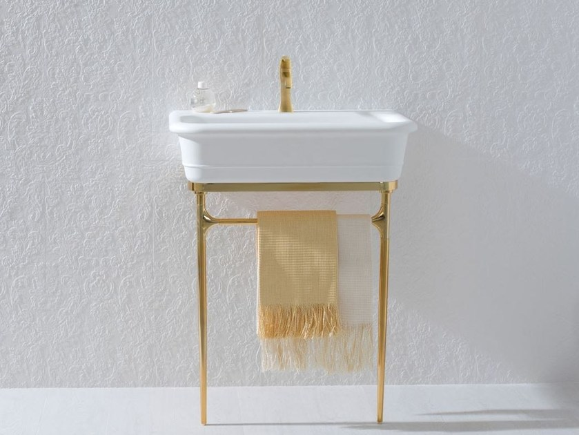 Console Krion® washbasin with towel rail EPOQUE GOLD - Systempool