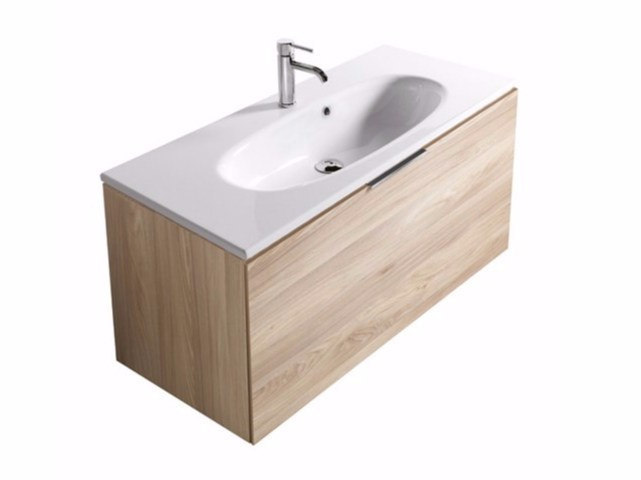 Wall-mounted vanity unit with drawers ERGO - 7160 - GALASSIA