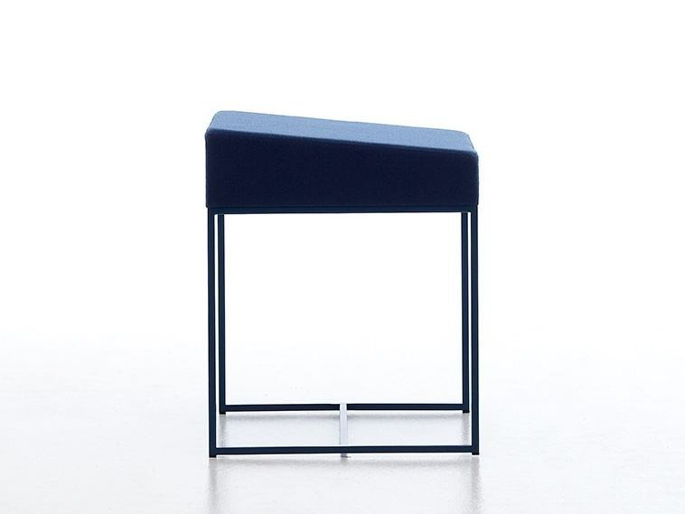 Low upholstered sled base stool ERGO H46 - AREA DECLIC