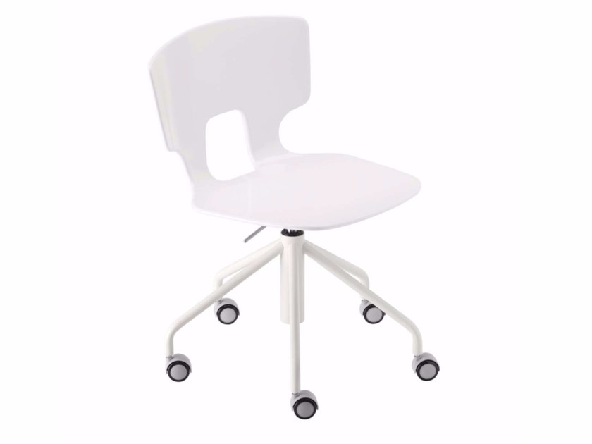 Swivel height-adjustable chair with casters ERICE STUDIO - 50C - Alias