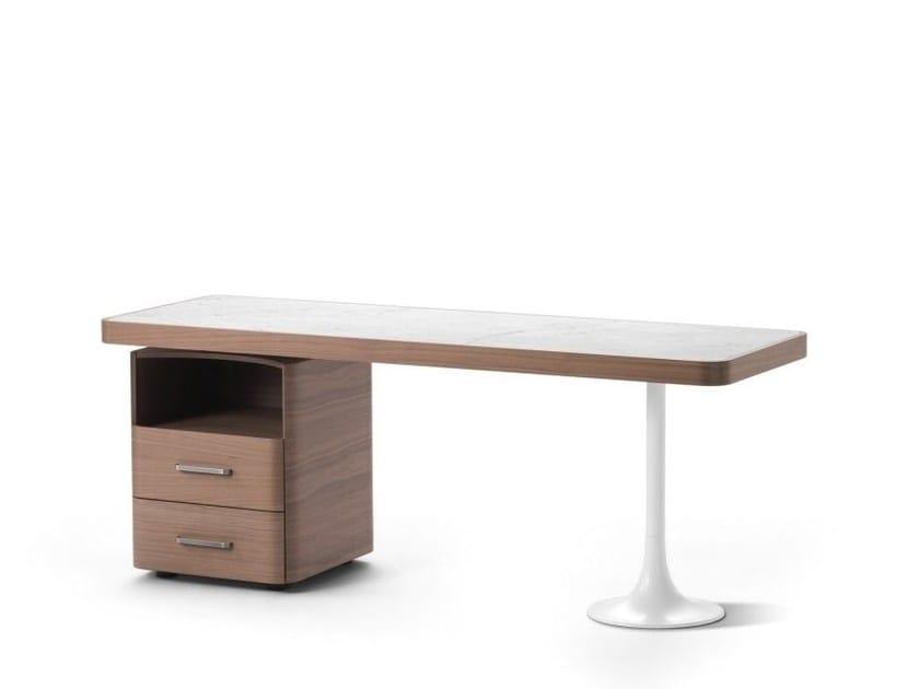 Carrara marble writing desk ERMES | Writing desk with drawers - Flou