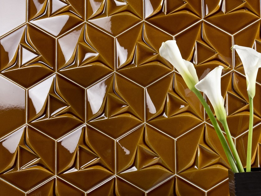 Indoor double-fired ceramic 3D Wall Tile SPACE CONCEPT - HEXAGON by ETRURIA design