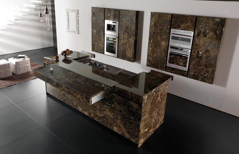 cucina in marmo con isola essential emperador dark - toncelli cucine - Cucine Esterne In Marmo