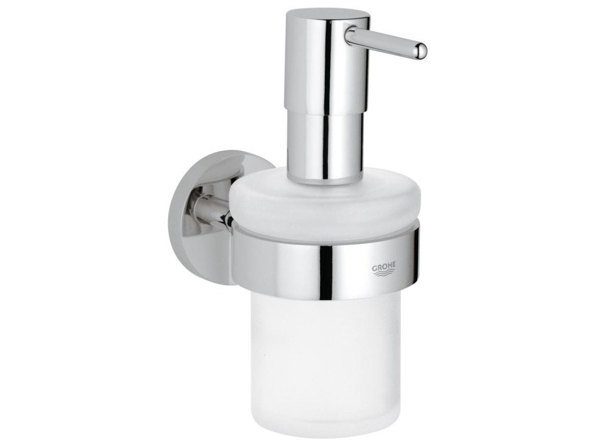 Wall-mounted satin glass liquid soap dispenser ESSENTIALS | Wall-mounted liquid soap dispenser - Grohe
