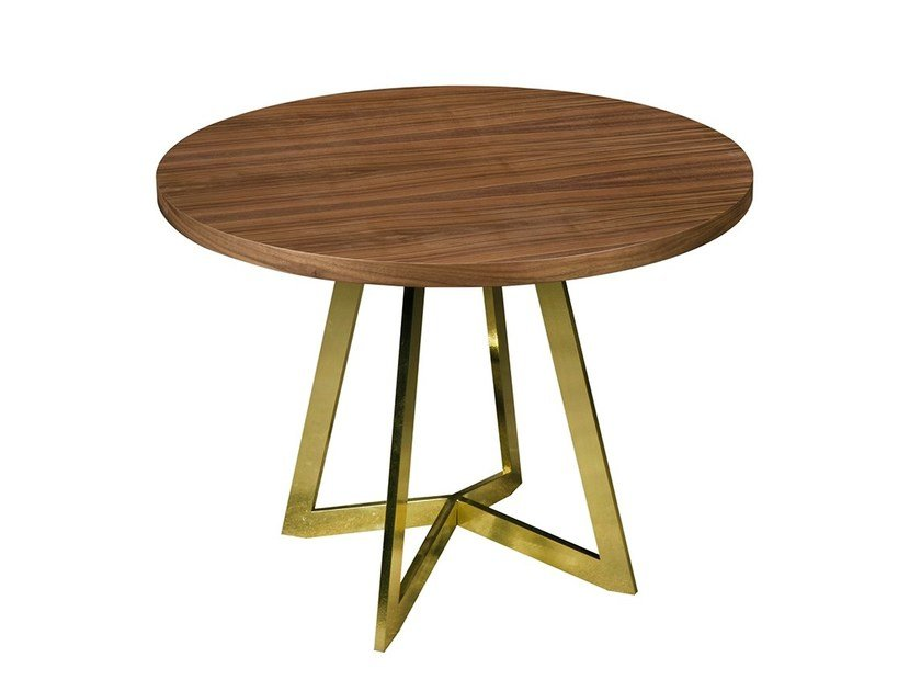 Round walnut side table ESTRELA | Side table - Branco sobre Branco