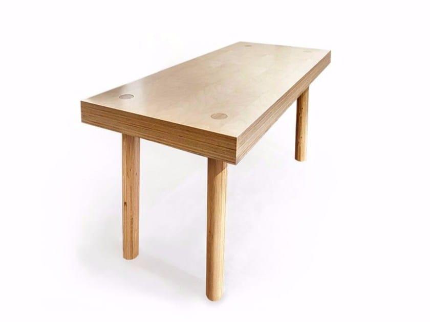 Rectangular solid wood writing desk ETABLI - MALHERBE EDITION