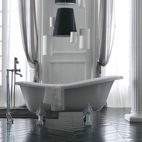 Vasca da bagno centro stanza in vetroresina su piedi ethos - Vasca da bagno ceramica ...